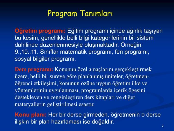 Program Tanımları