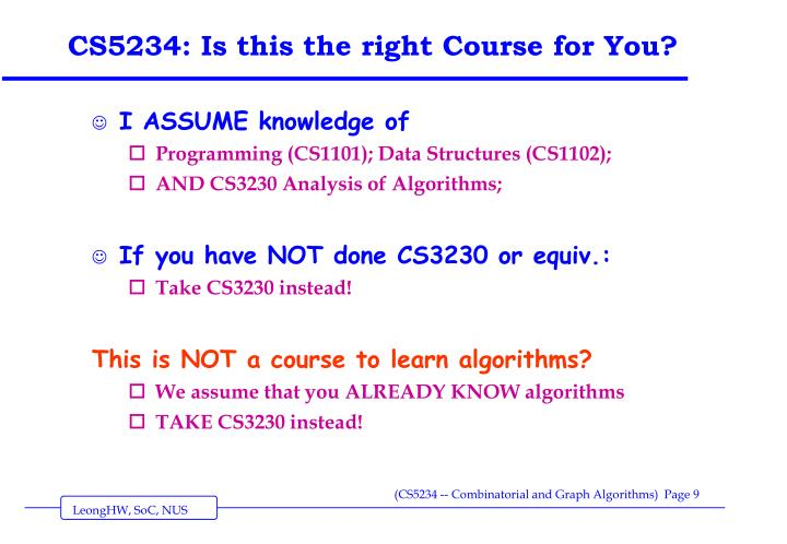 CS5234: Is this the right Course for You?