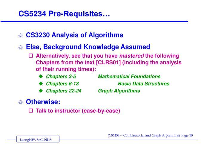 CS5234 Pre-Requisites…