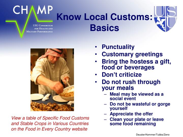 Know Local Customs: