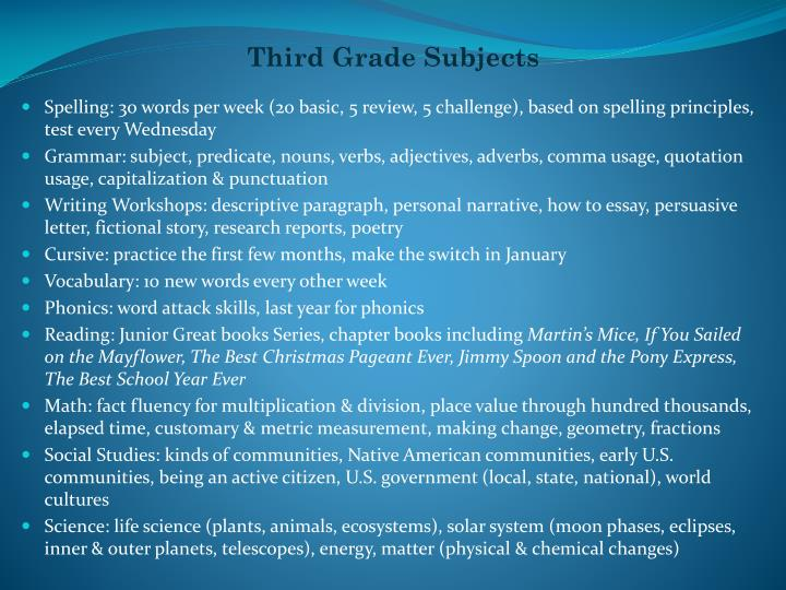 Third Grade Subjects