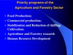 priority programs of the agriculture and forestry sector