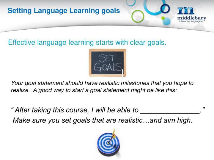 Setting Language Learning goals