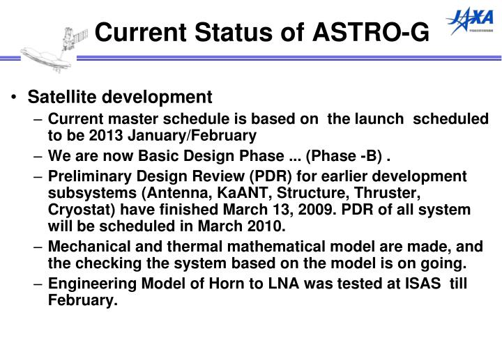 Current Status of ASTRO-G