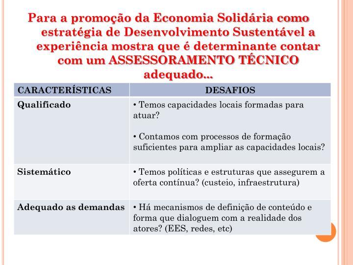 Para a promoção da Economia Solidária como estratégia de Desenvolvimento Sustentável a experiência mostra que é determinante contar com um ASSESSORAMENTO TÉCNICO adequado...