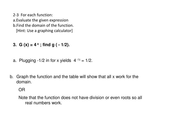 2-3  For each function: