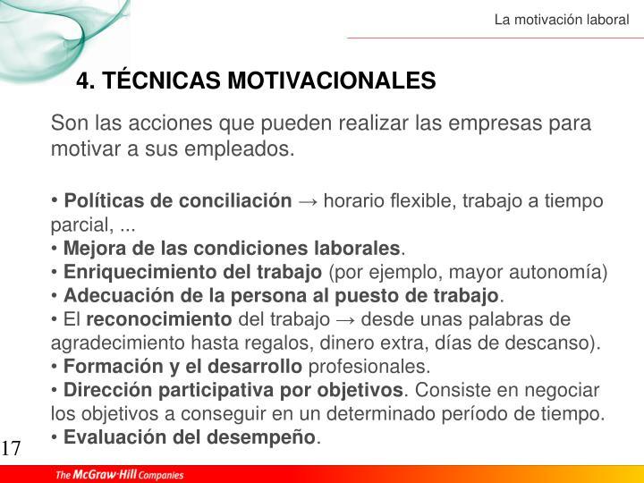 4. TÉCNICAS MOTIVACIONALES