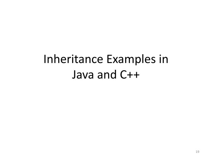 Inheritance Examples in