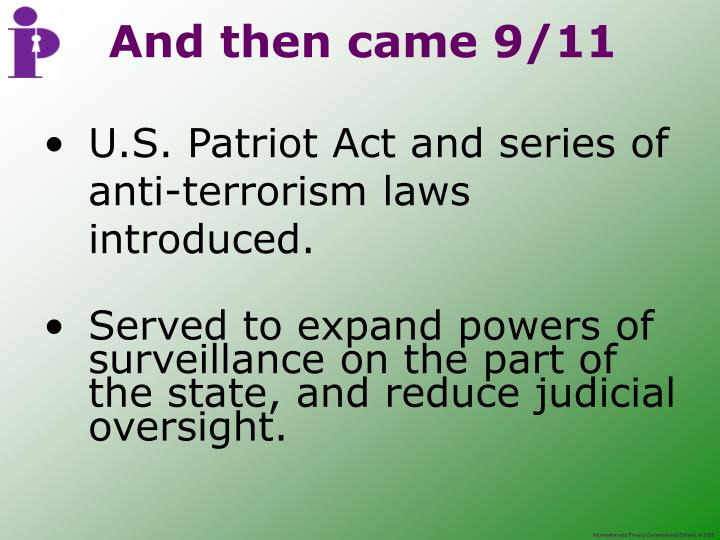 U.S. Patriot Act and series of anti-terrorism laws introduced.