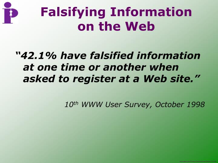 """42.1% have falsified information at one time or another when asked to register at a Web site."""