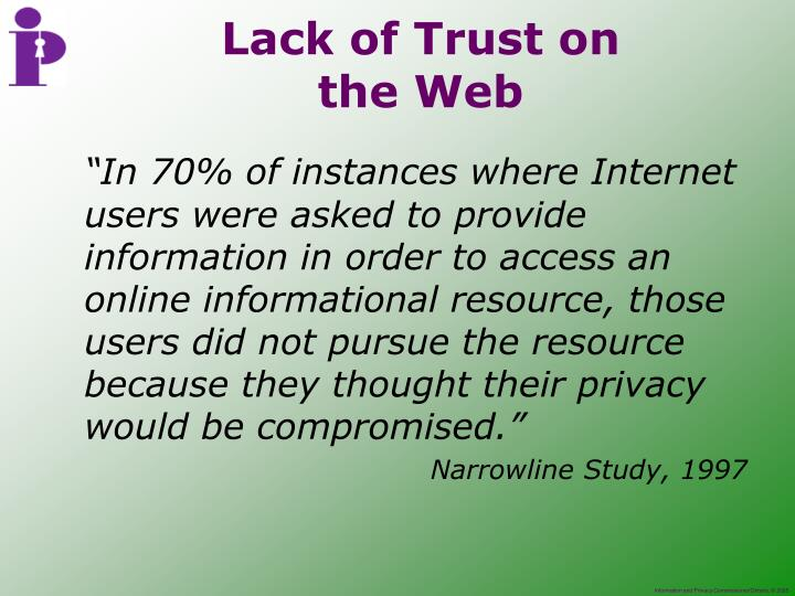 """In 70% of instances where Internet users were asked to provide information in order to access an online informational resource, those users did not pursue the resource because they thought their privacy would be compromised."""