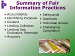 summary of fair information practices