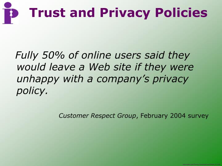 Fully 50% of online users said they would leave a Web site if they were unhappy with a company's privacy policy.