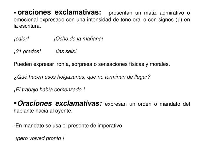 oraciones exclamativas: