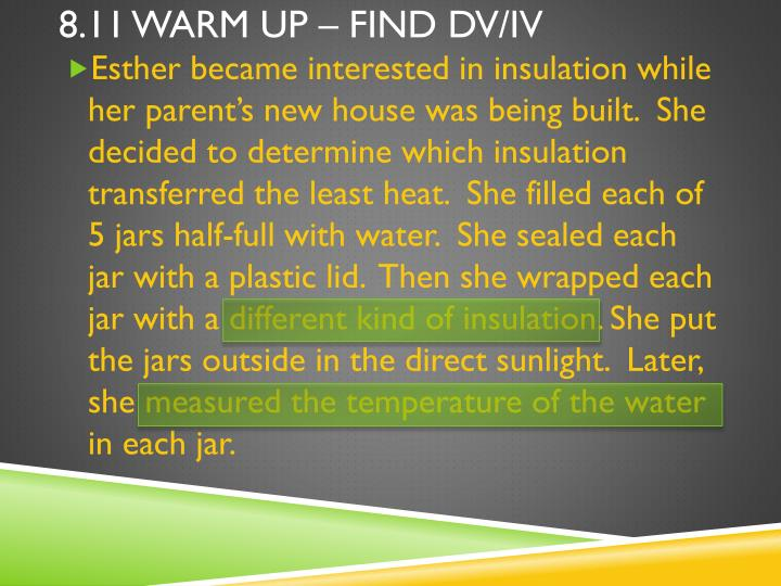 8 11 warm up find dv iv1