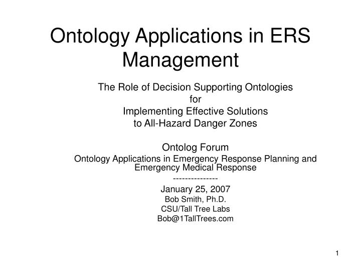 Ontology applications in ers management