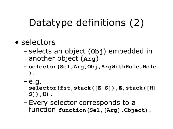 Datatype definitions (2)