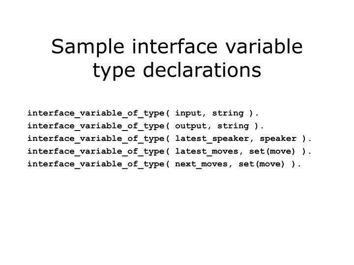 Sample interface variable type declarations