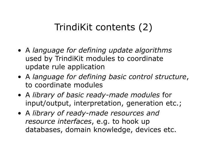 TrindiKit contents (