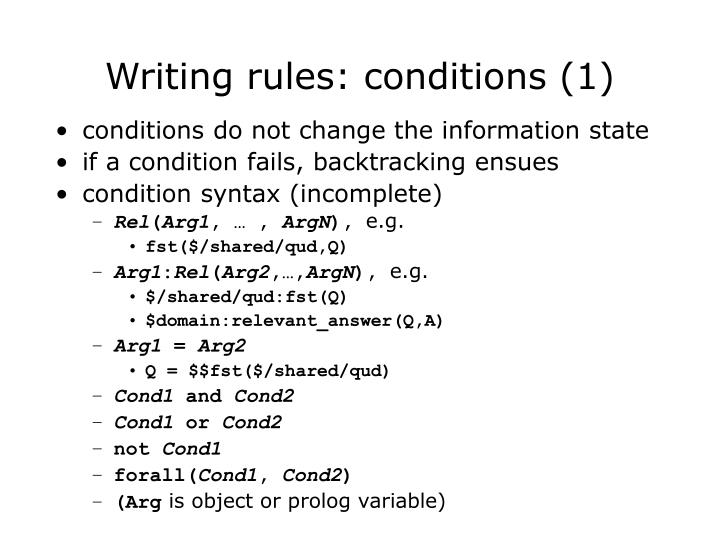 Writing rules: conditions (1)