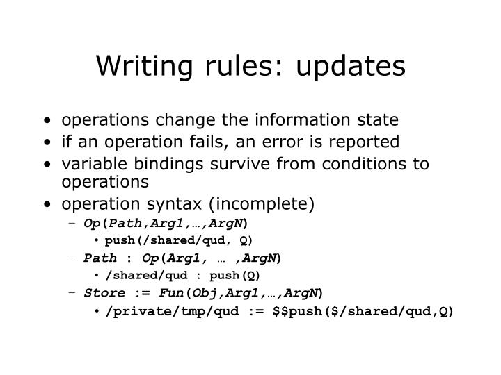 Writing rules: updates