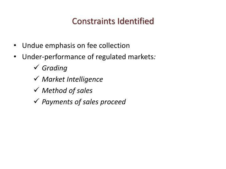 Constraints Identified