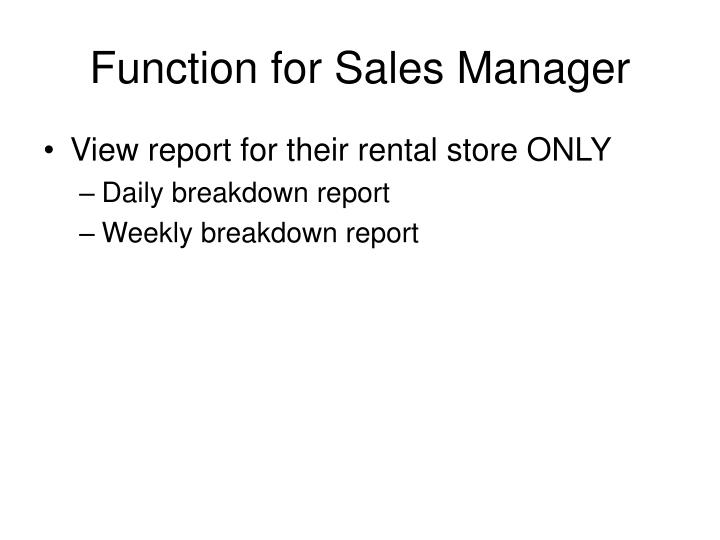 Function for Sales Manager