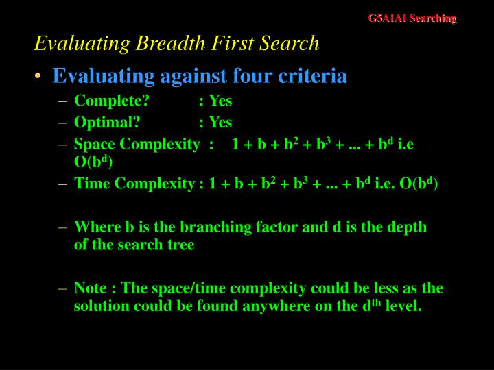 Evaluating Breadth First Search