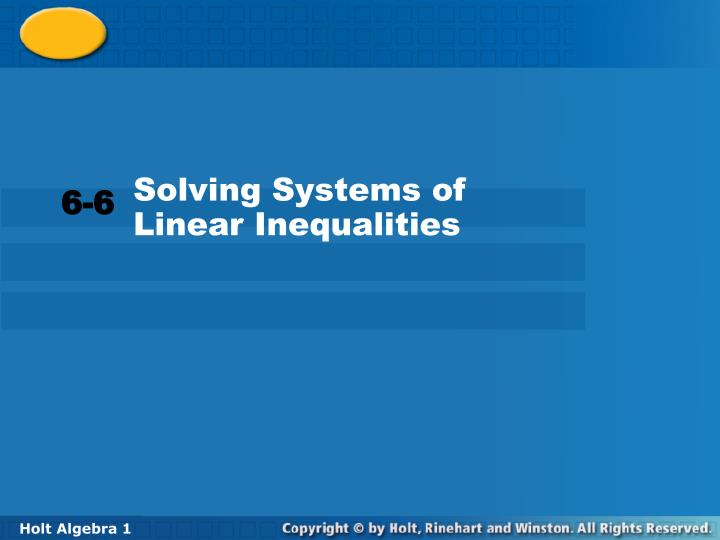 Solving Systems of