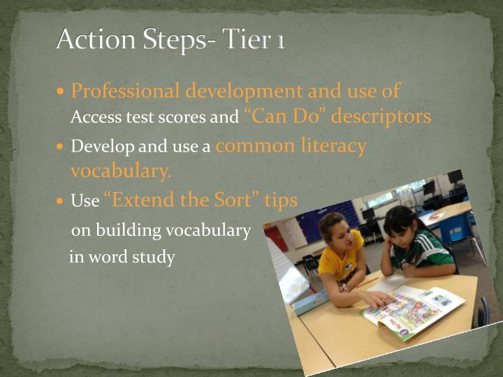 Action Steps- Tier 1