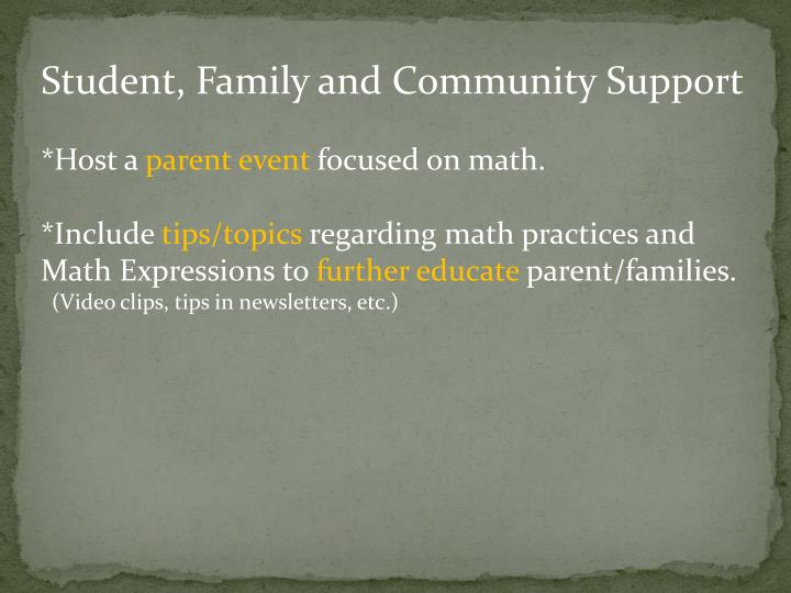 Student, Family and Community