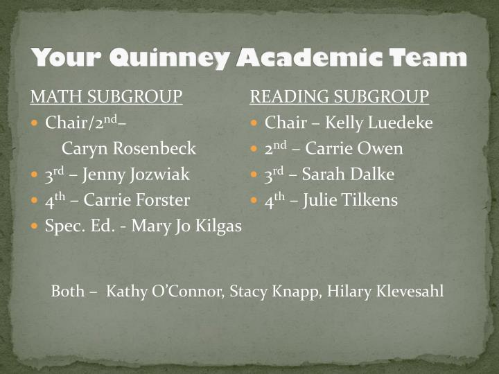 Your quinney academic team