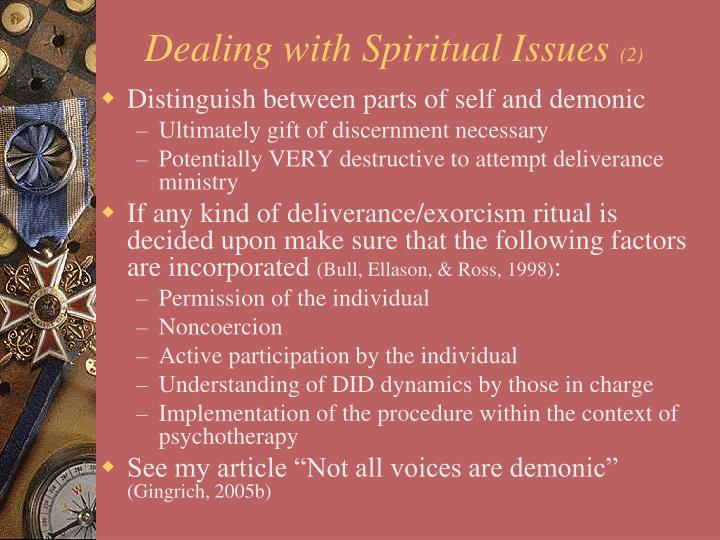 Dealing with Spiritual Issues
