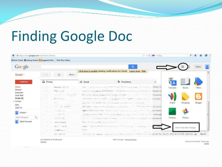Finding Google Doc