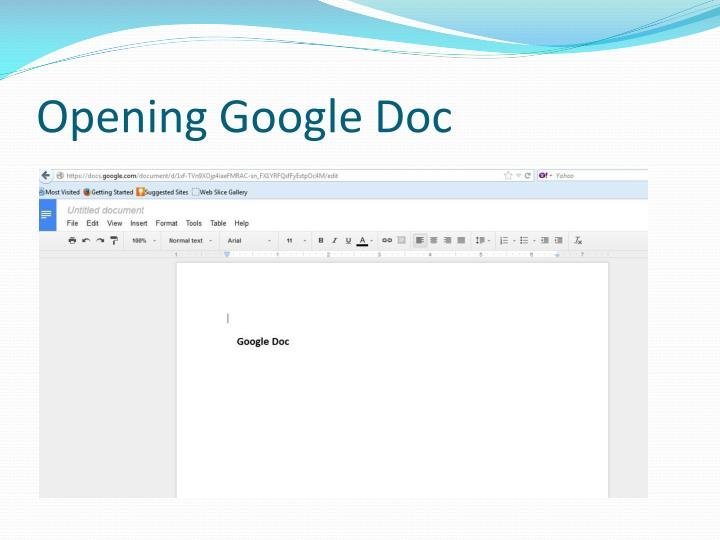 Opening Google Doc
