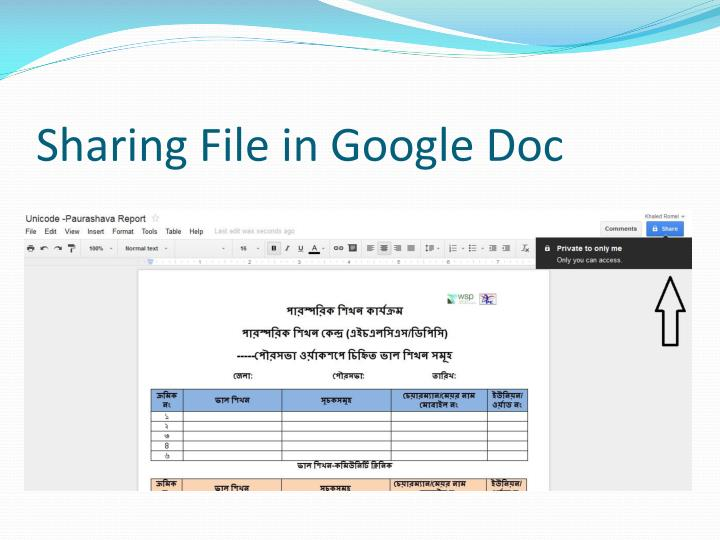 Sharing File in Google Doc