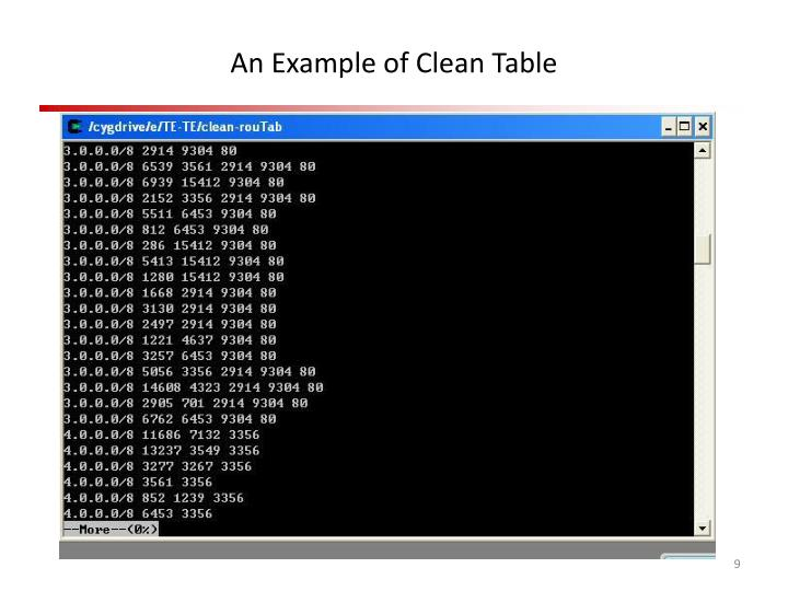 An Example of Clean Table