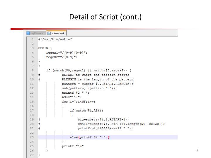 Detail of Script (cont.)