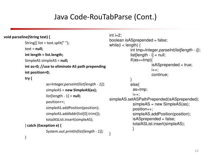 Java Code-RouTabParse (Cont.)