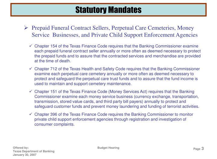 Statutory Mandates