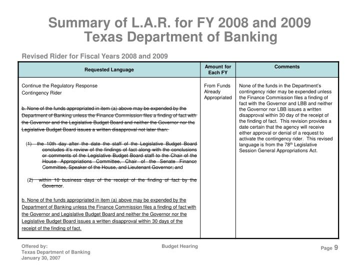 Summary of L.A.R. for FY 2008 and 2009