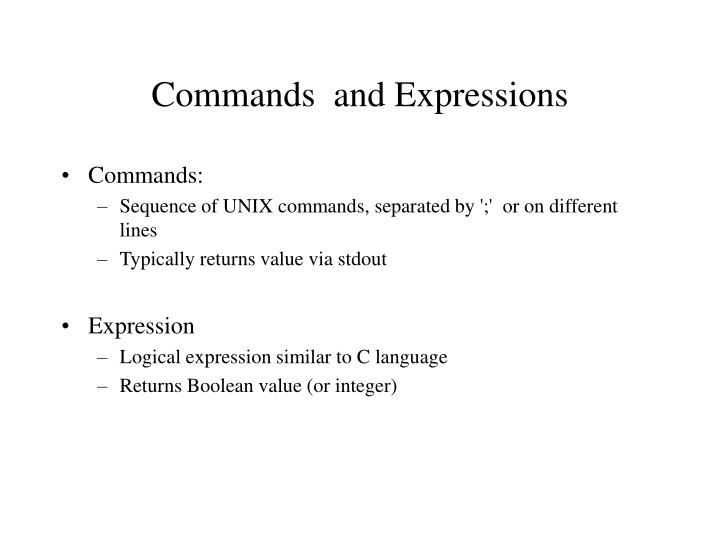 Commands and expressions