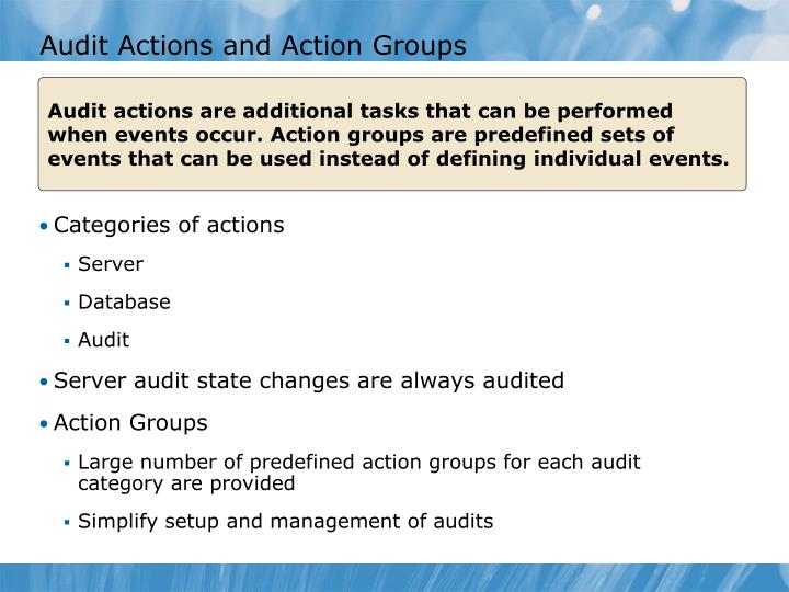 Audit Actions and