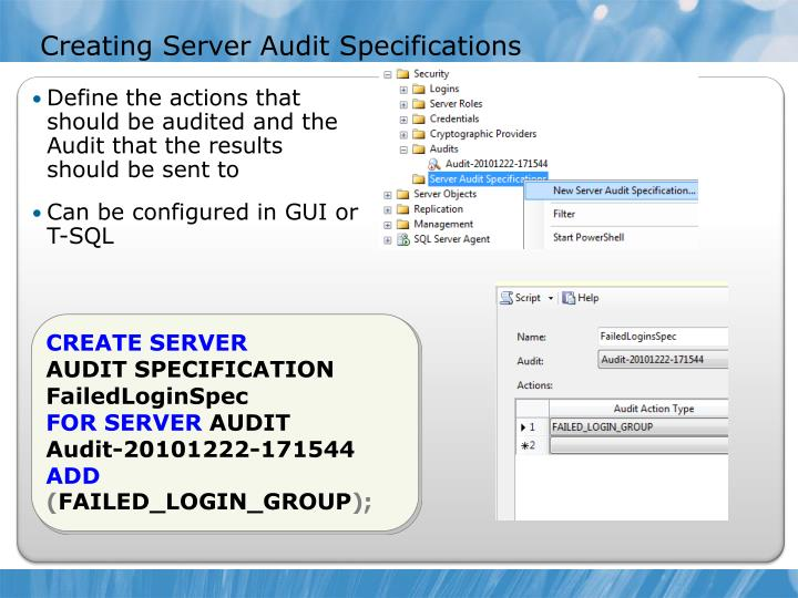Creating Server Audit Specifications