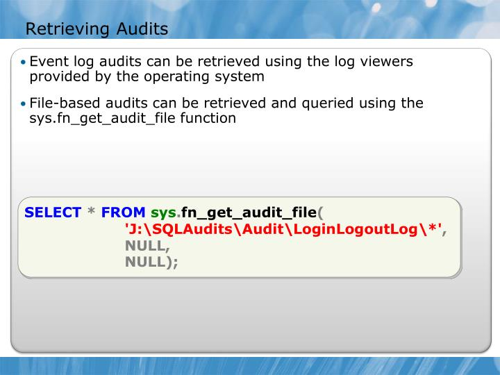 Retrieving Audits
