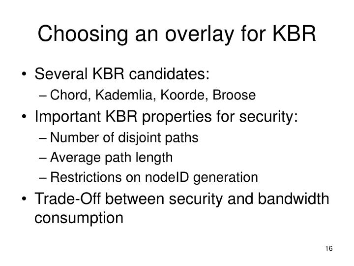Choosing an overlay for KBR