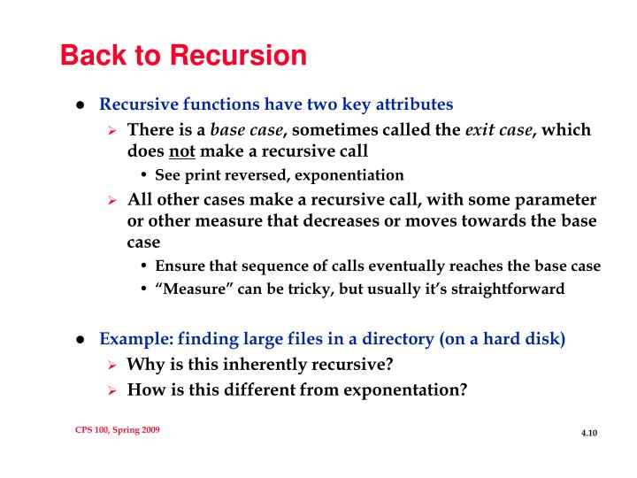 Back to Recursion