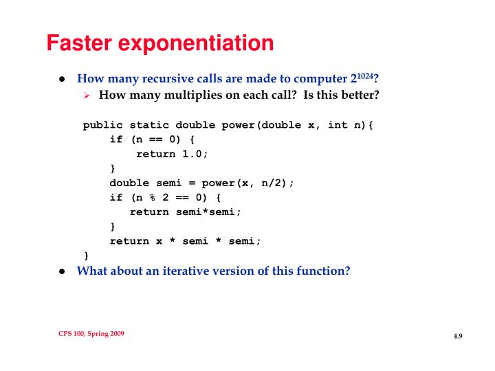 Faster exponentiation