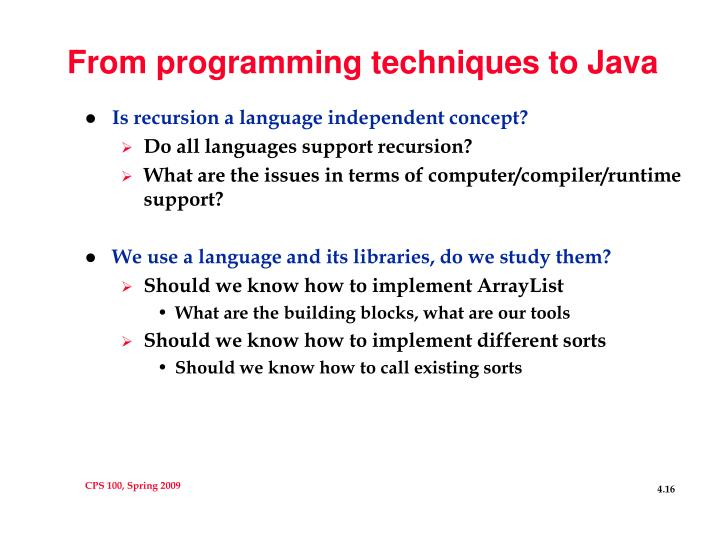 From programming techniques to Java