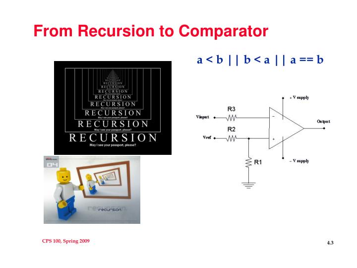 From Recursion to Comparator